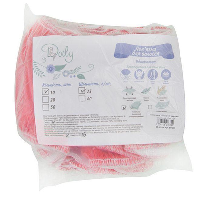 Повязка для волос одноразовая Doily 25 г/м2 (спанбонд, разноцветные) 10 штук