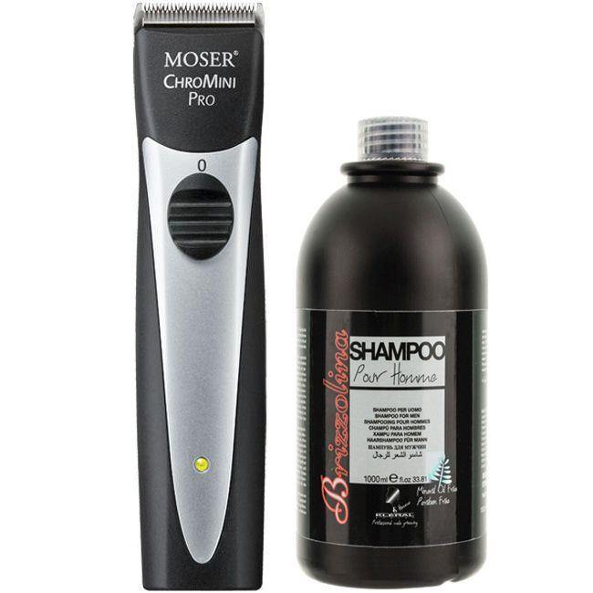 Набор для него Moser ChroMini Pro Black + Kleral Brizzolina Shampoo 1000 мл