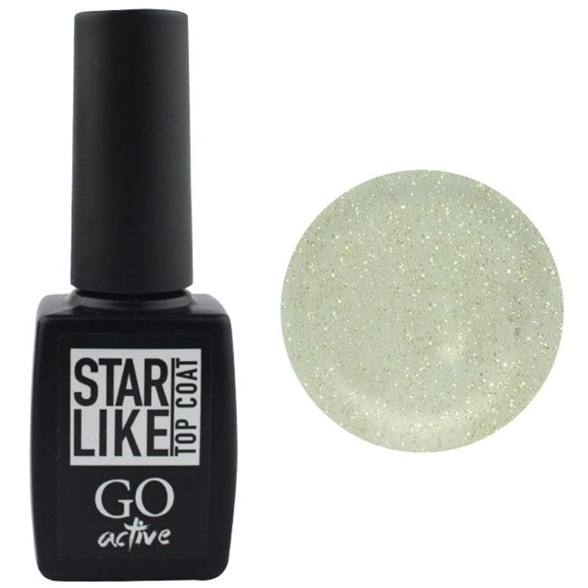 Топ для гель-лака без липкого слоя GO Active Starlike Top Coat №02 (c золотистым шиммером) 10 мл