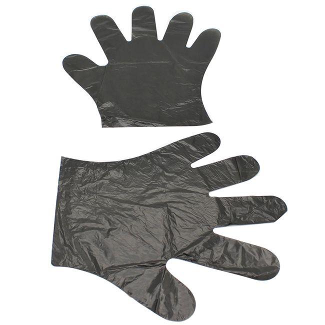 Перчатки одноразовые полиэтиленовые Astra (черные) 100 штук