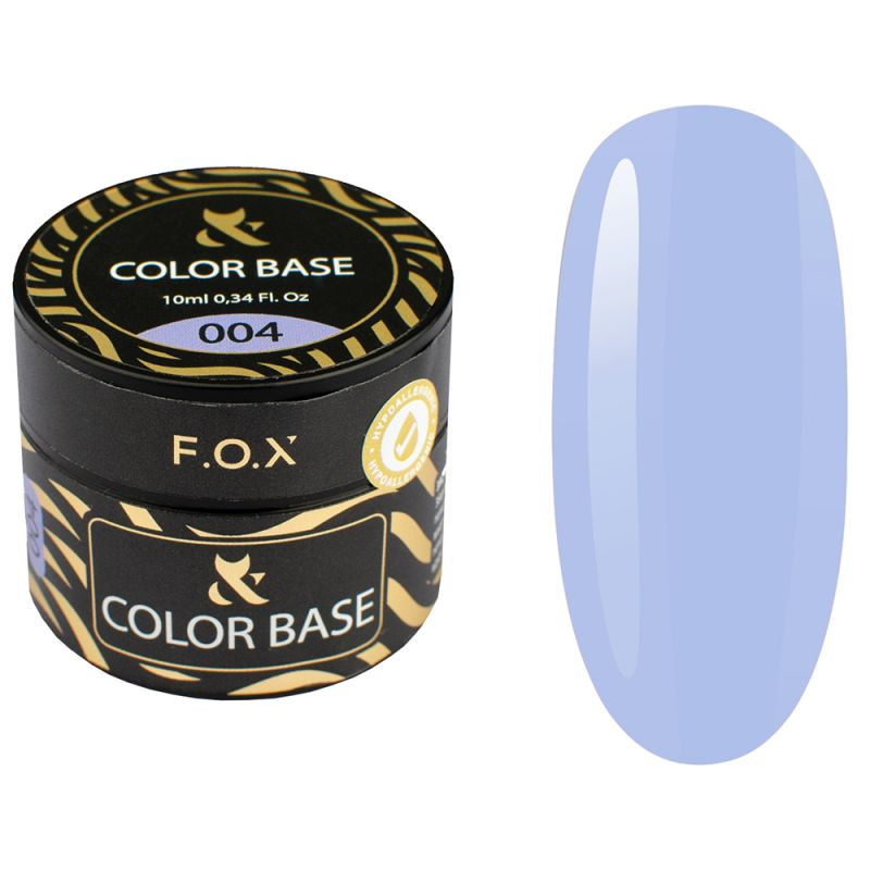 База для гель-лака камуфлирующая F.O.X Color Base №004 (синий, эмаль) 10 мл