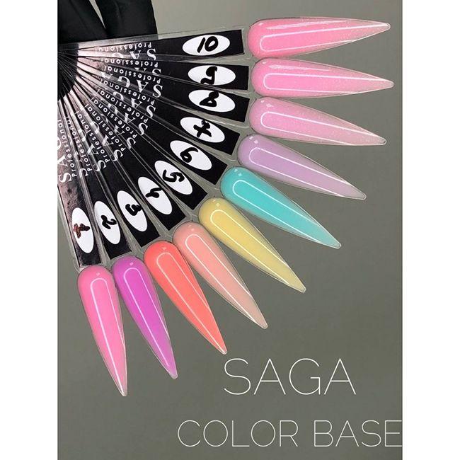 База для гель-лака камуфлирующая Saga Color Base №10 (нежно-розовый с микроблеском) 8 мл