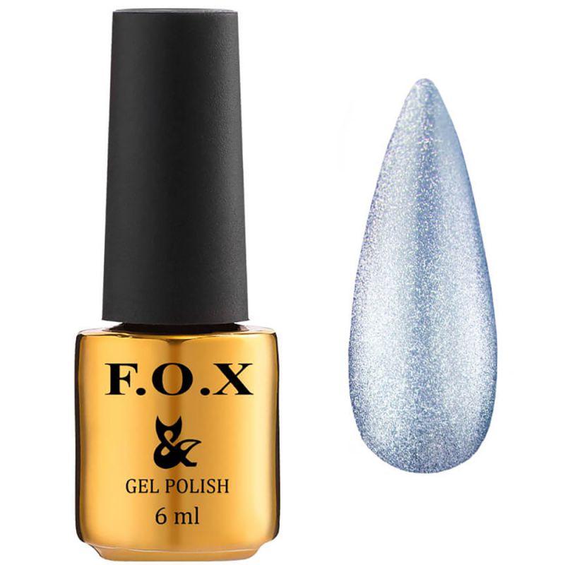 Гель-лак F.O.X Gel Polish Crystal Cat Eye №004 (полупрозрачный голубой, кошачий глаз) 6 мл