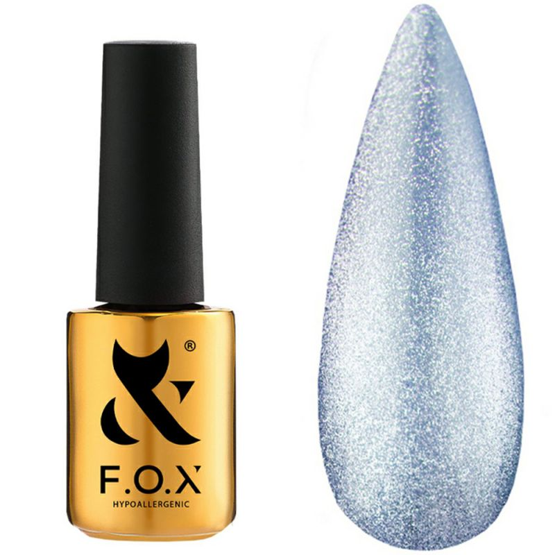 Гель-лак F.O.X Gel Polish Crystal Cat Eye №004 (полупрозрачный голубой, кошачий глаз) 7 мл
