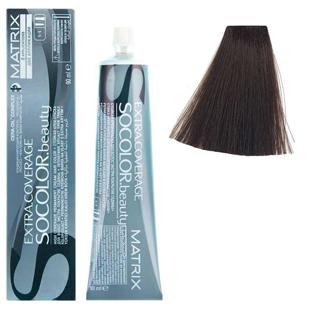 Крем-краска для волос Matrix Socolor.beauty Extra Coverage 504N (шатен, для седины) 90 мл