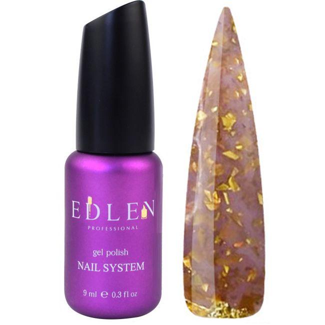База для гель-лака Edlen Potal №42 (тепло-коричневый с золотыми хлопьями) 9 мл