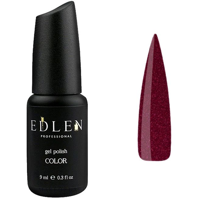 Гель-лак Edlen №14 (бордовый со светло-красными блестками) 9 мл