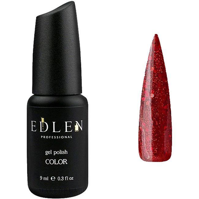 Гель-лак Edlen №15 (темно-красный с красными блестками) 9 мл