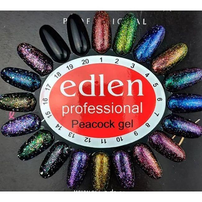 Гель-лак Edlen Peacock №12 (фиолетовый электрик, хамелеон с блестками) 8 мл