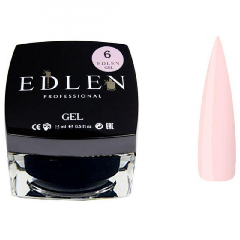 Строительный гель Edlen Builder Gel Peach №6 (теплый розовый) 15 мл