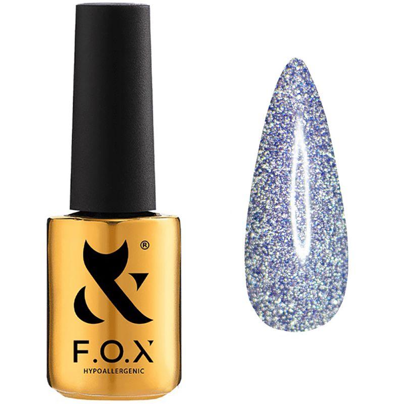 Гель-лак F.O.X Flash №009 (серебро с синим микроблеском, светоотражающий) 7 мл