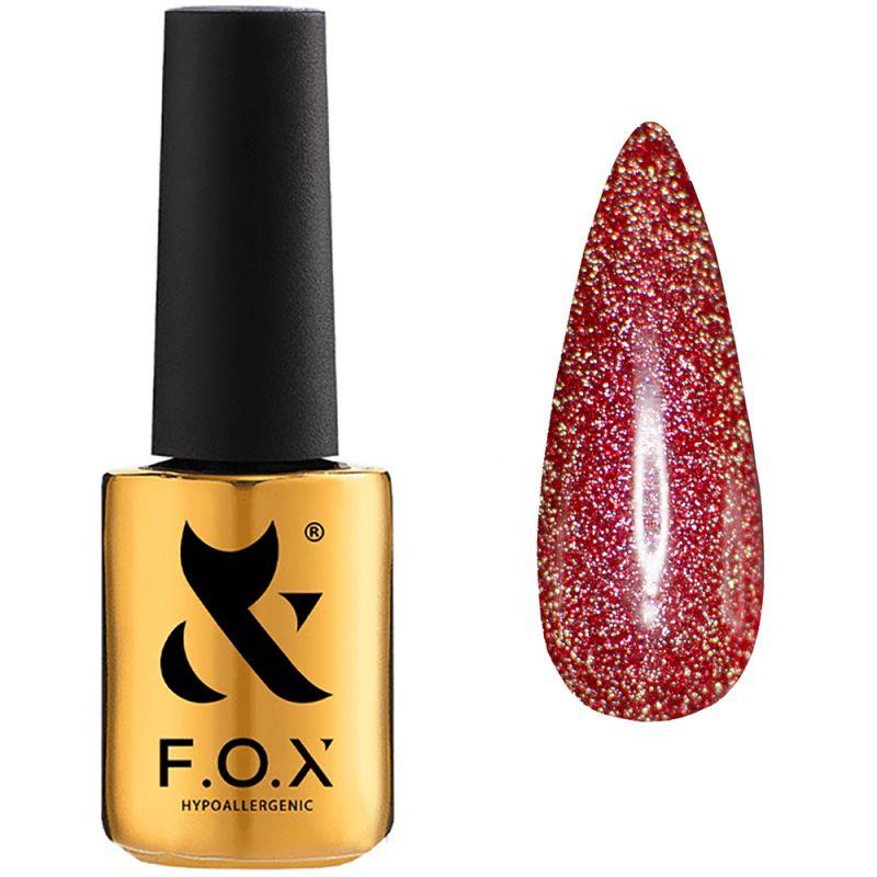 Гель-лак F.O.X Flash №013 (красный с микроблеском, светоотражающий) 7 мл