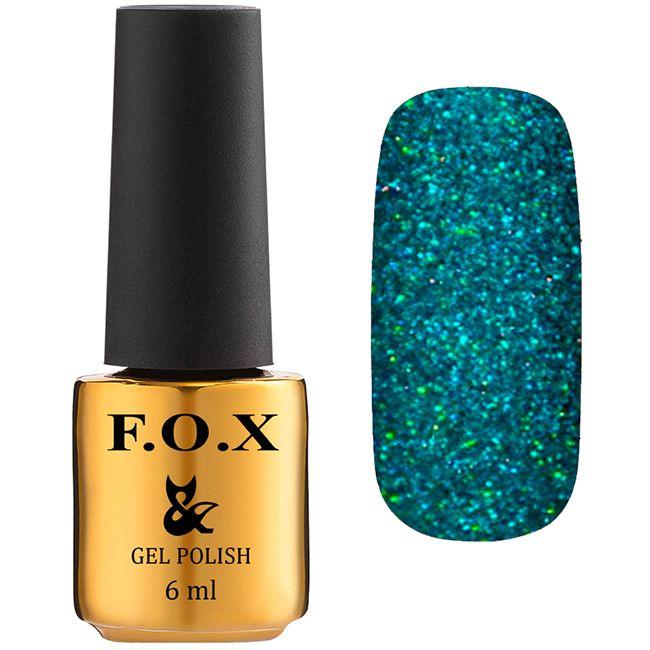 Гель-лак F.O.X Pigment Gel Polish №169 (темно-бирюзовый с блестками) 7 мл