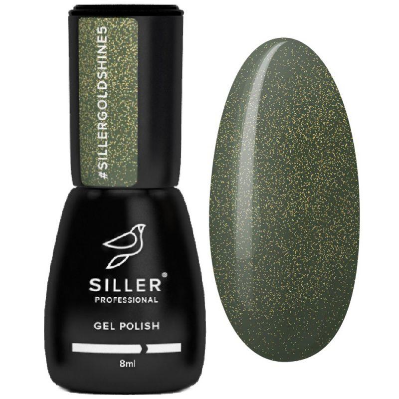Гель-лак Siller Gold Shine №005 (зеленый с золотым микроблеском) 8 мл