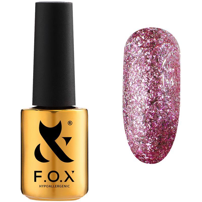 Гель-лак F.O.X Gel Polish Hangover №003 (розовый со сверкающей слюдой) 7 мл