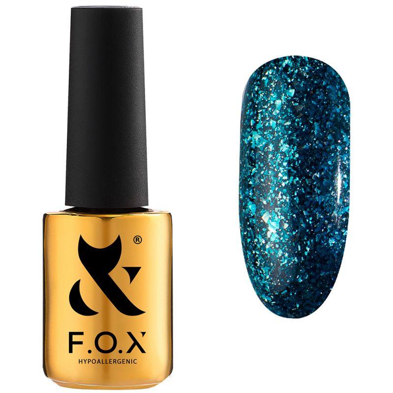 Гель-лак F.O.X Gel Polish Hangover №005 (изумрудно-голубой с зеленой слюдой) 7 мл