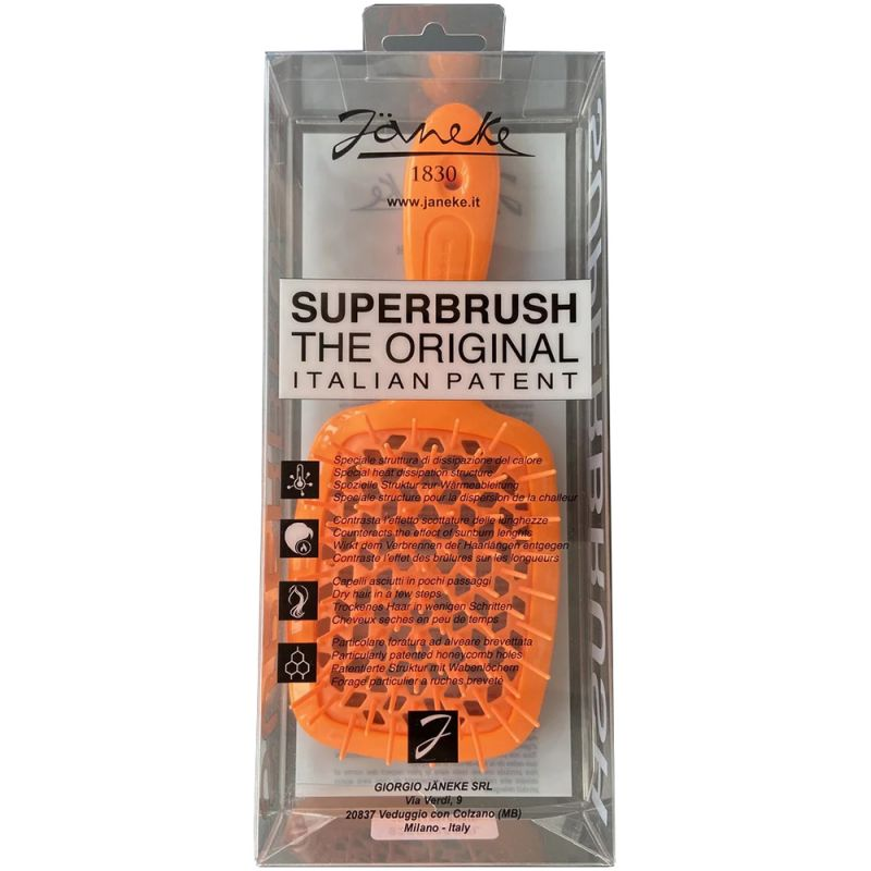 Расческа для волос Janeke 1830 Superbrush The Original Italian Orange Neon