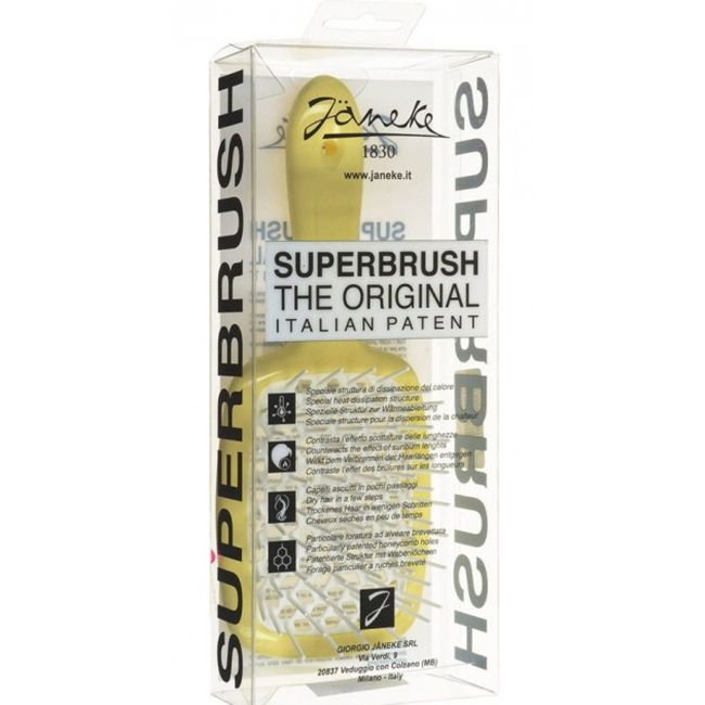 Расческа для волос Janeke 1830 Superbrush The Original Italian Yellow White