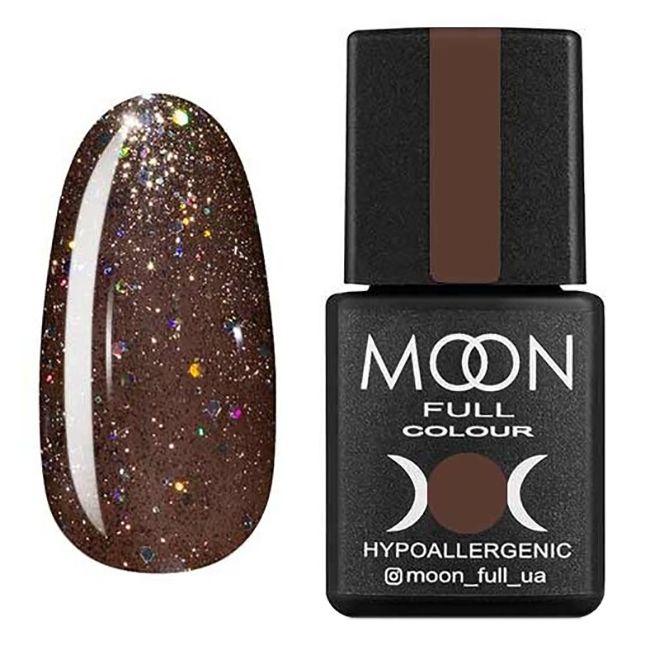 Гель-лак Moon Full №322 (темный бежевый с разноцветным глиттером) 8 мл