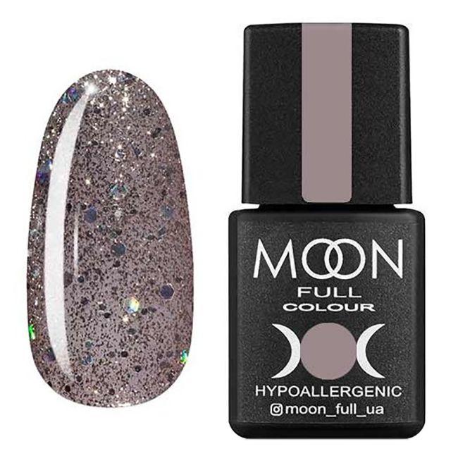 Гель-лак Moon Full №323* (серебристо-бежевый с разноцветным глиттером) 8 мл