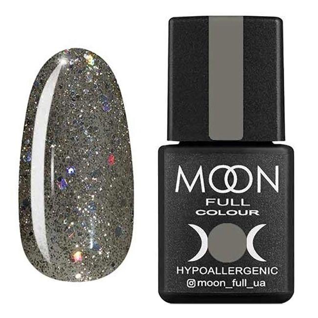 Гель-лак Moon Full №324 (серебристо-оливковый с разноцветным глиттером) 8 мл