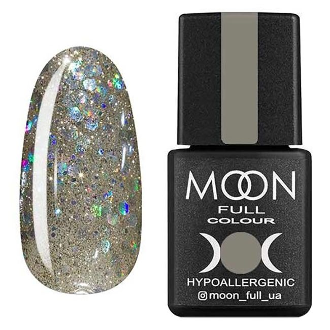 Гель-лак Moon Full №328* (серебристо-золотой с разноцветным глиттером) 8 мл