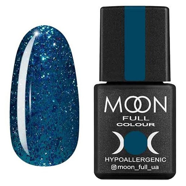 Гель-лак Moon Full Diamond №01 (изумрудный с глиттером) 8 мл