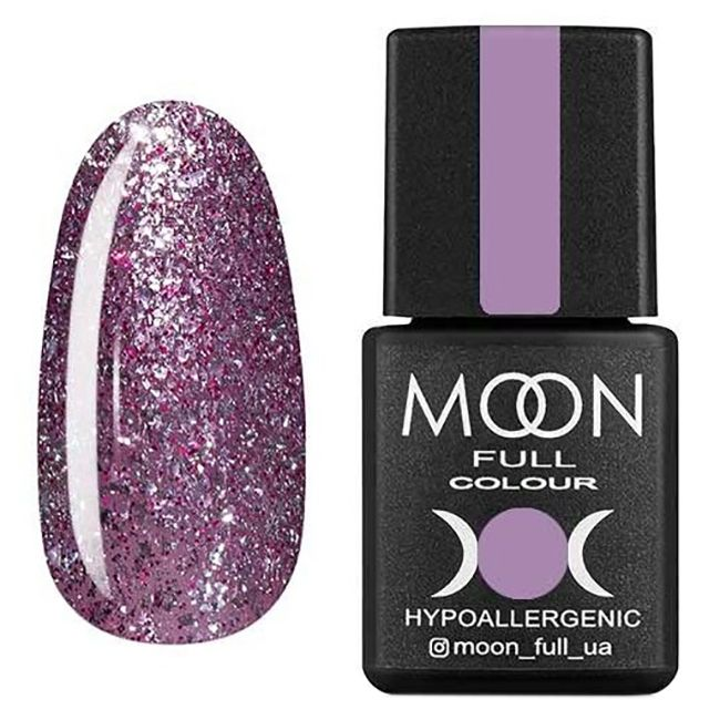 Гель-лак Moon Full Diamond №04 (сиренево-серебристый с глиттером) 8 мл