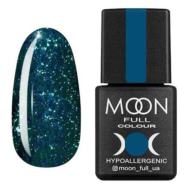 Гель-лак Moon Full Diamond №06 (ярко-зеленый с серебряным глиттером) 8 мл