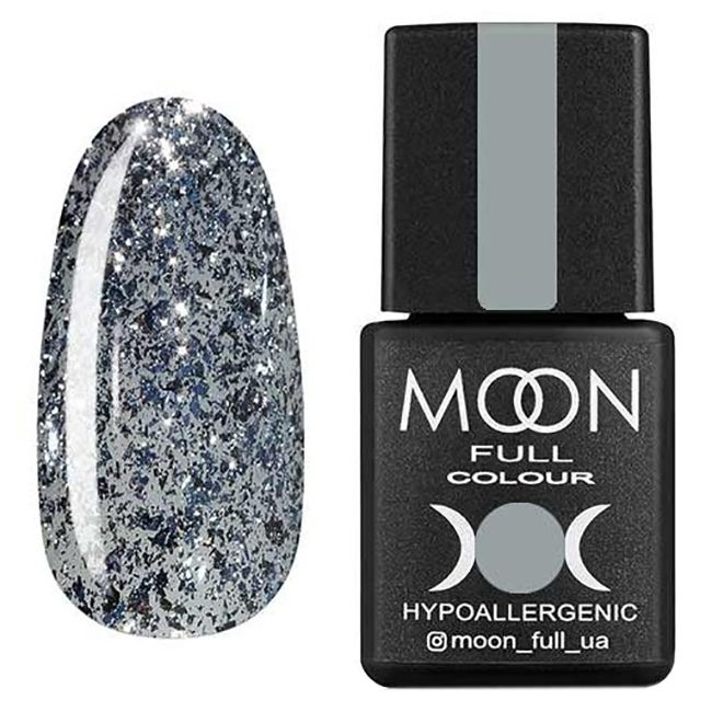 Гель-лак Moon Full Diamond №07 (бело-серебряный с глиттером) 8 мл