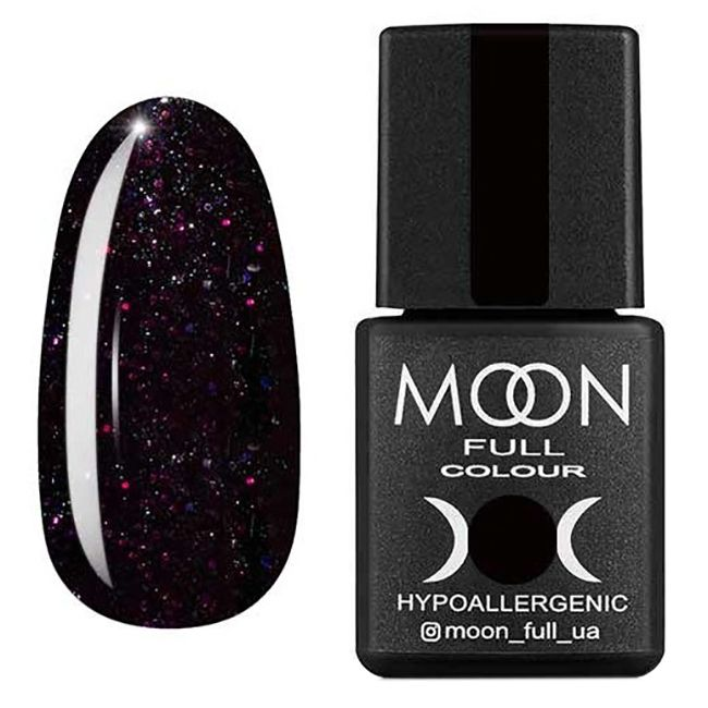 Гель-лак Moon Full Diamond №24* (темный баклажан с разноцветным шиммером) 8 мл