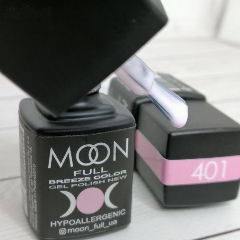 Гель лак Moon Full Breeze Color №401 (бело-розовый, эмаль) 8 мл
