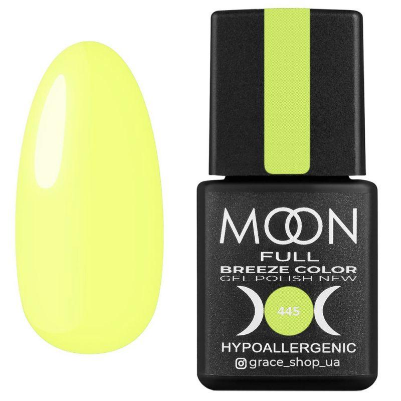 Гель-лак Moon Full Breeze Color №445 (лимонный, эмаль) 8 мл