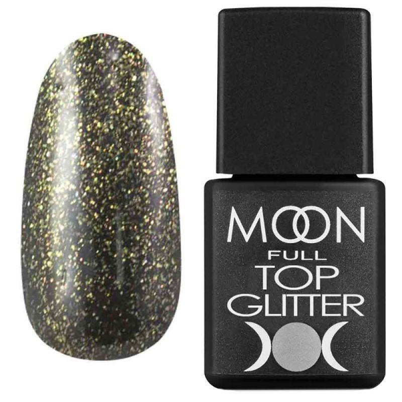 Топ для гель-лака Moon Full Top Glitter №02 (с золотым микроблеском) 8 мл