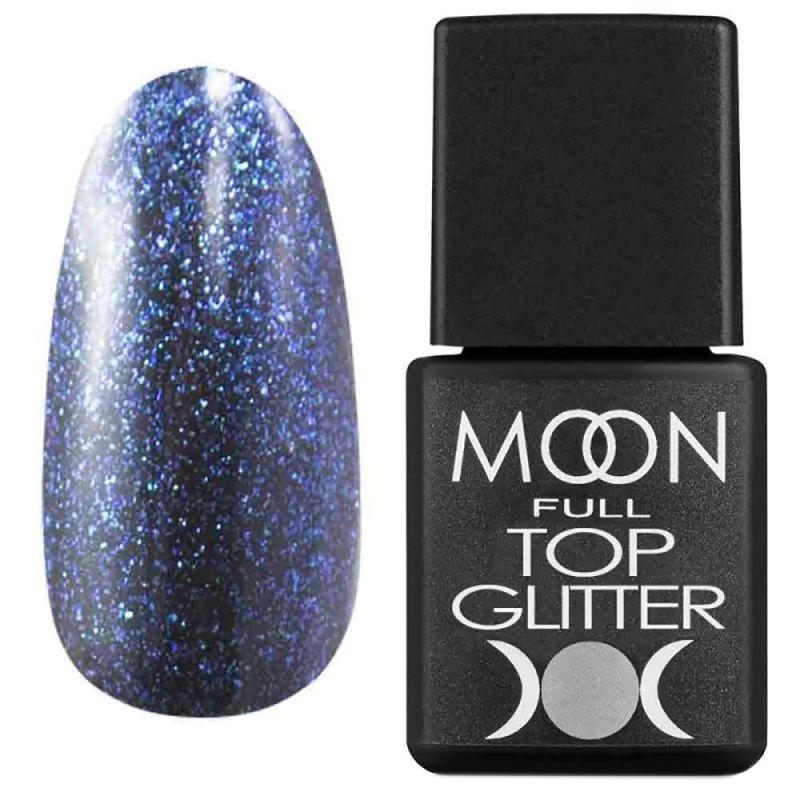Топ для гель-лака Moon Full Top Glitter №04 (с голубым микроблеском) 8 мл