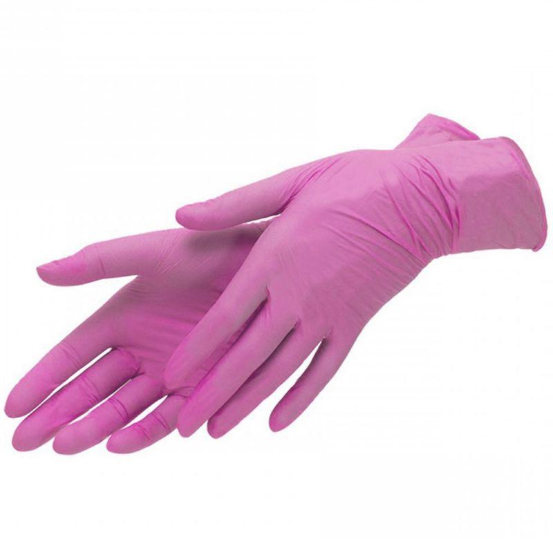 Перчатки нитриловые без пудры Mercator Medical Nitrylex PF Complеte Pink L 100 штук
