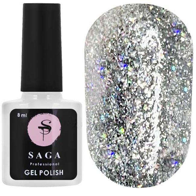 Гель-лак Saga Fianit (серебро с голограммными блестками) 8 мл