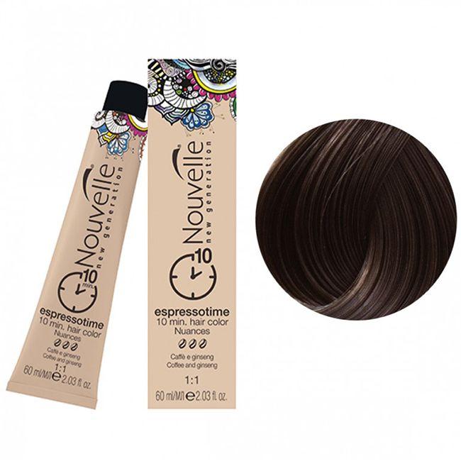 Крем-краска для волос Nouvelle Espressotime 4.73 (темный шоколадно-золотистый) 60 мл