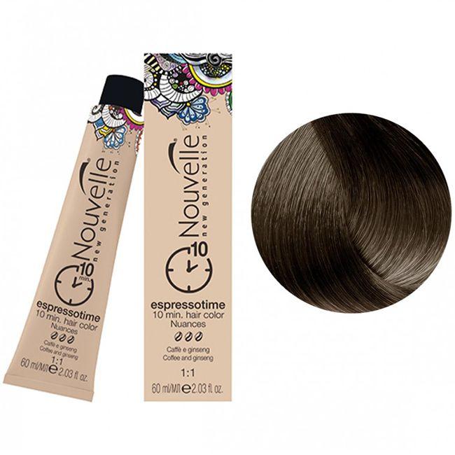 Крем-краска для волос Nouvelle Espressotime 4 (насыщенный каштановый шатен) 60 мл