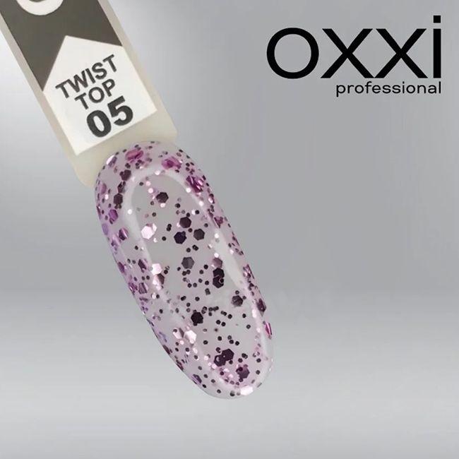 Топ для гель-лака Oxxi Twist Top №005 (с сиреневыми хлопьями) 10 мл