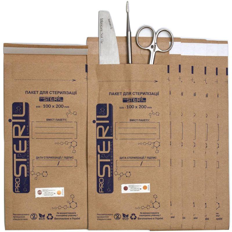 Крафт-пакет для стерилизации ProsteriL 100х200 мм (коричневый) 100 штук