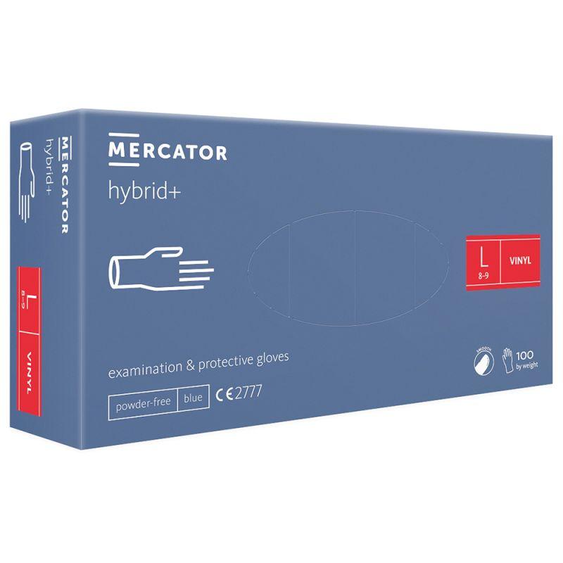 Перчатки виниловые без пудры Mercator Medical Hybrid Vinyl Blue L 100 штук