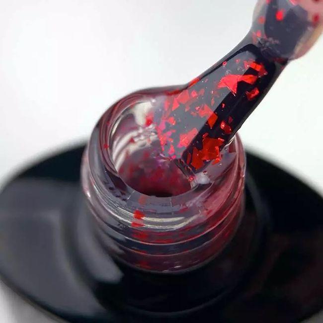 Топ для гель-лака Saga Leaf Red (с красными хлопьями потали) 8 мл