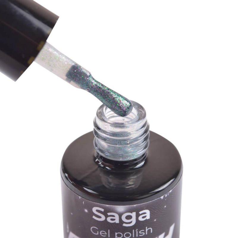 Топ для гель-лака Saga Top Glitter №2 (прозрачный с глиттером) 8 мл