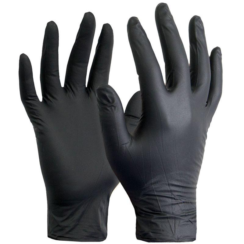 Перчатки нитриловые неопудренные SFM Black L 200 штук