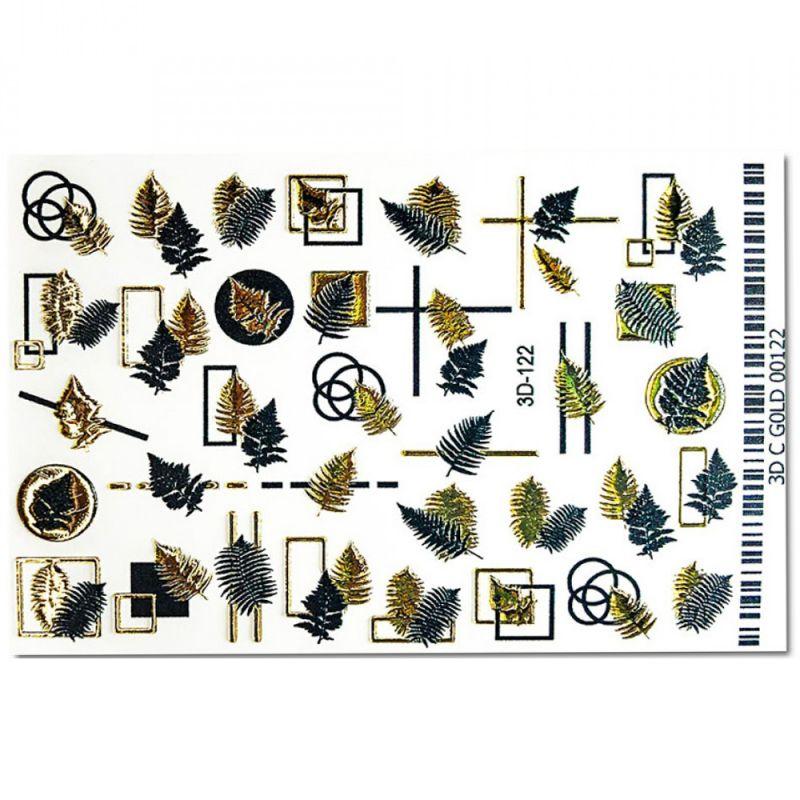Слайдер-дизайн объемный 3D122 Листья Black&Gold