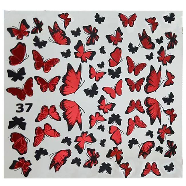 Слайдер-дизайн New Max 37G Красные бабочки (фольгированный)