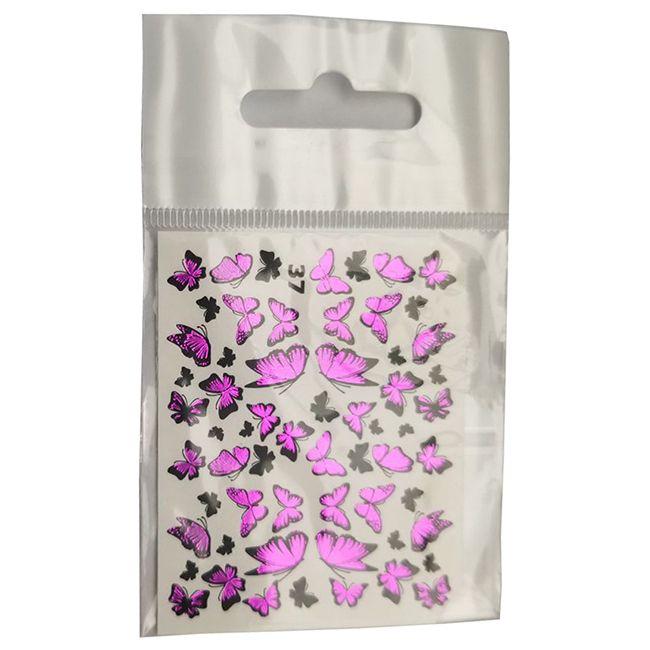 Слайдер-дизайн New Max 37H Розовые бабочки (фольгированный)