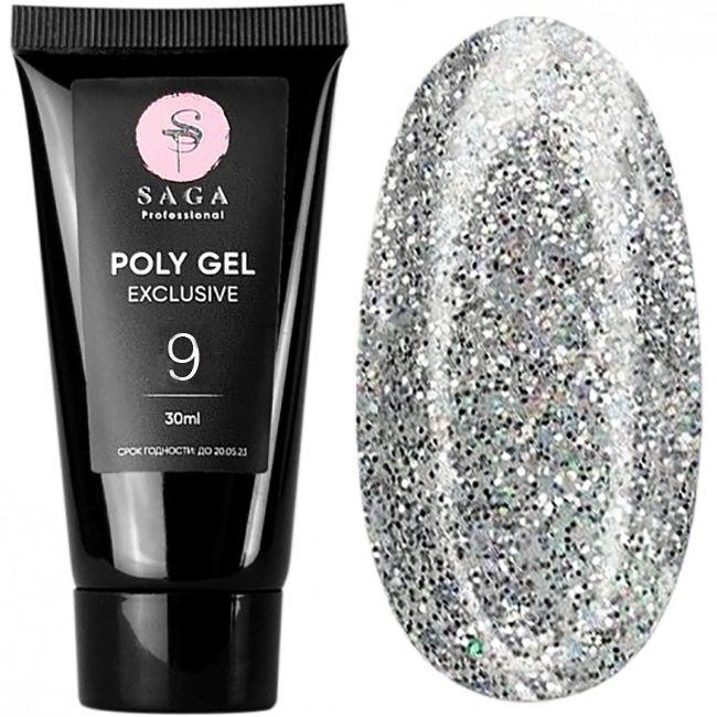 Полигель Saga Poly Gel Exclusive №9 (серебристый с шиммером) 30 мл