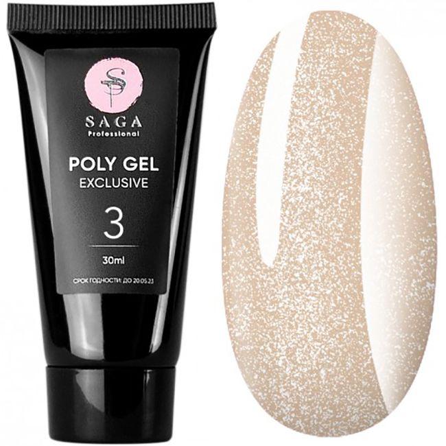 Полигель Saga Poly Gel Exclusive №3 (персиковый с шиммером) 30 мл
